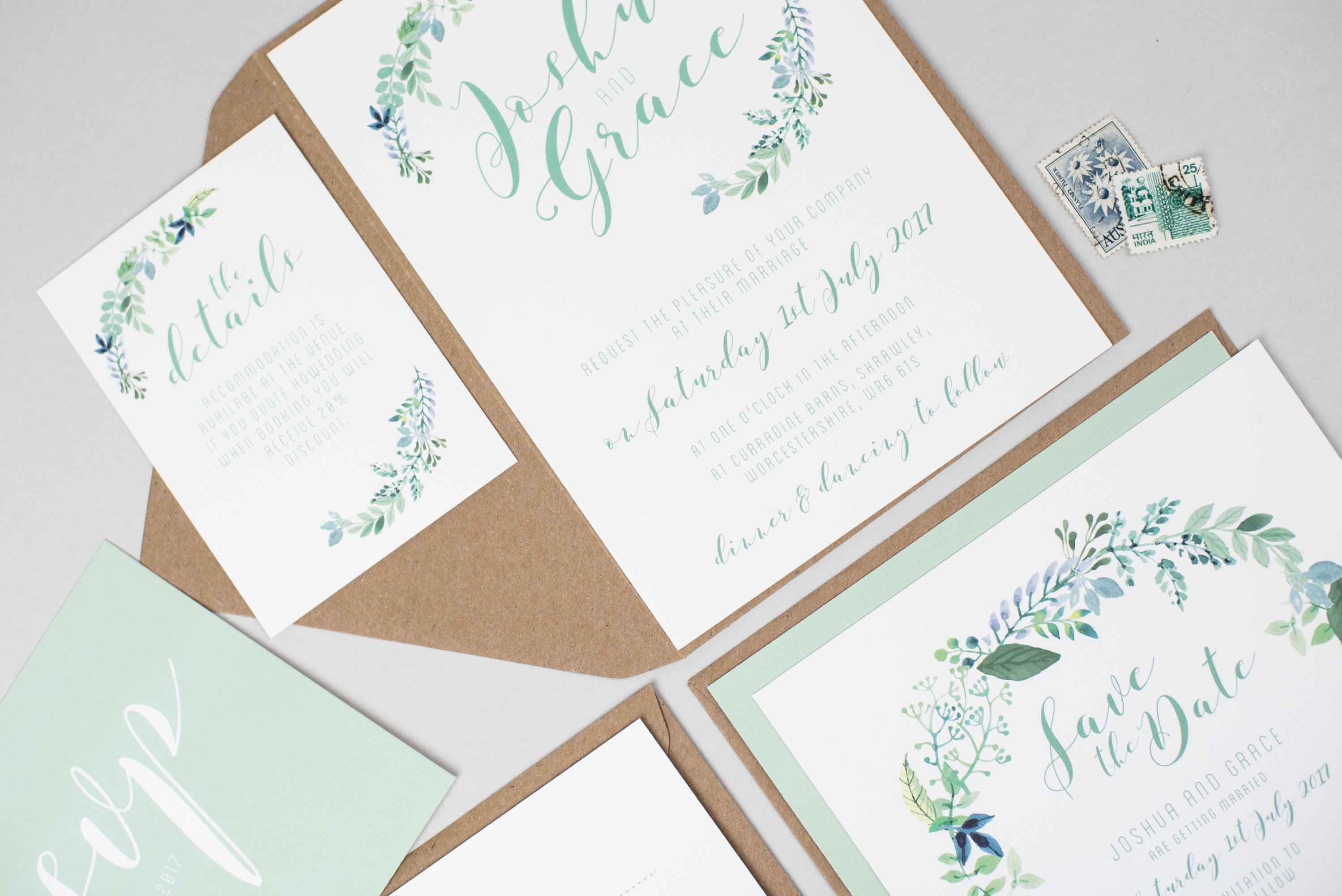 Botanical Wedding Invite Bundle | Abbie Worton Design | Greeting ...