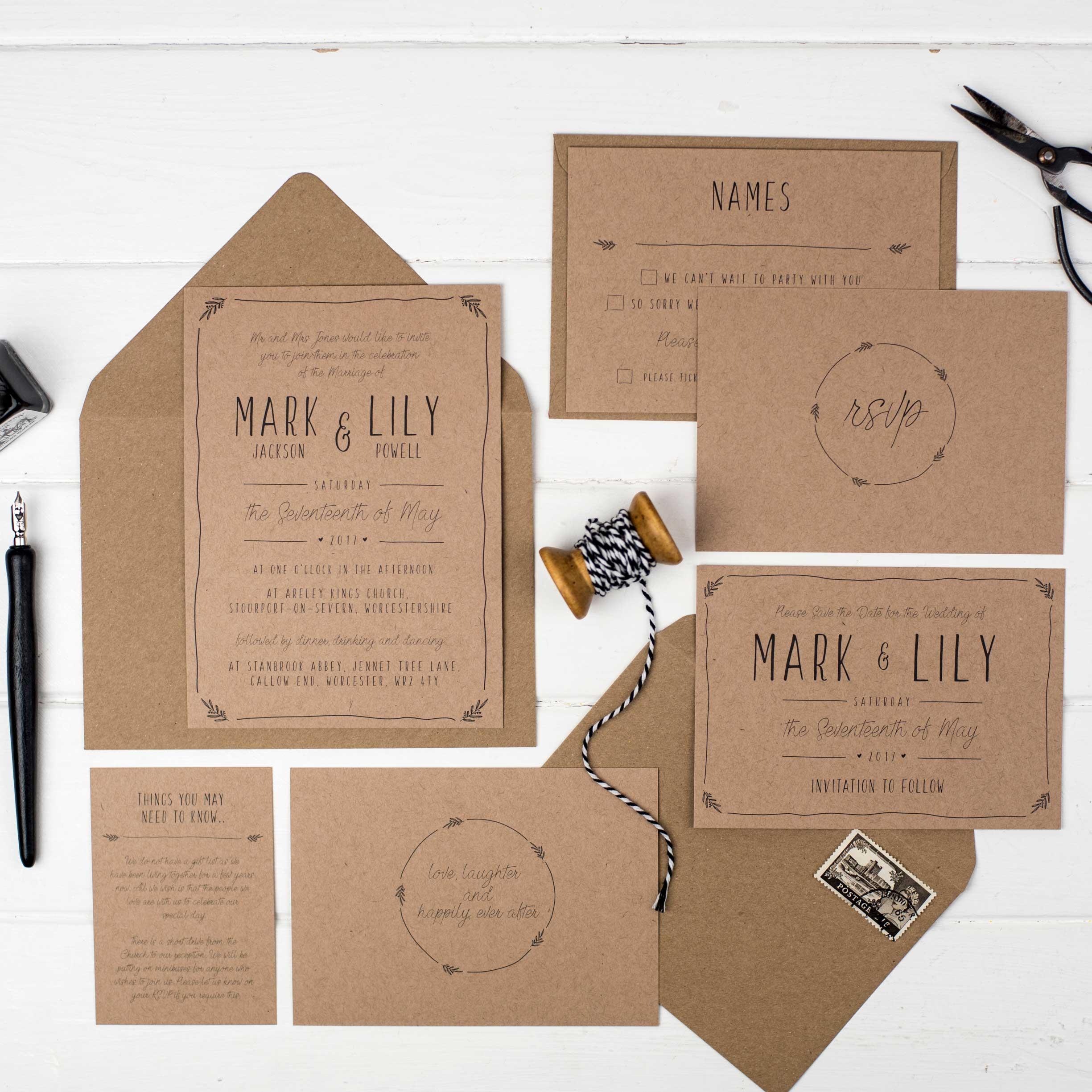 Rustic Wedding Invite Bundle   Abbie Worton Design   Greeting Cards ...