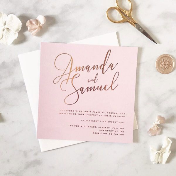 gold and blush invite