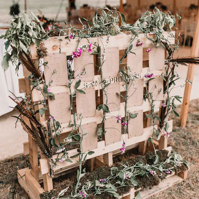 wedding day stationery and signage - rustic table plan