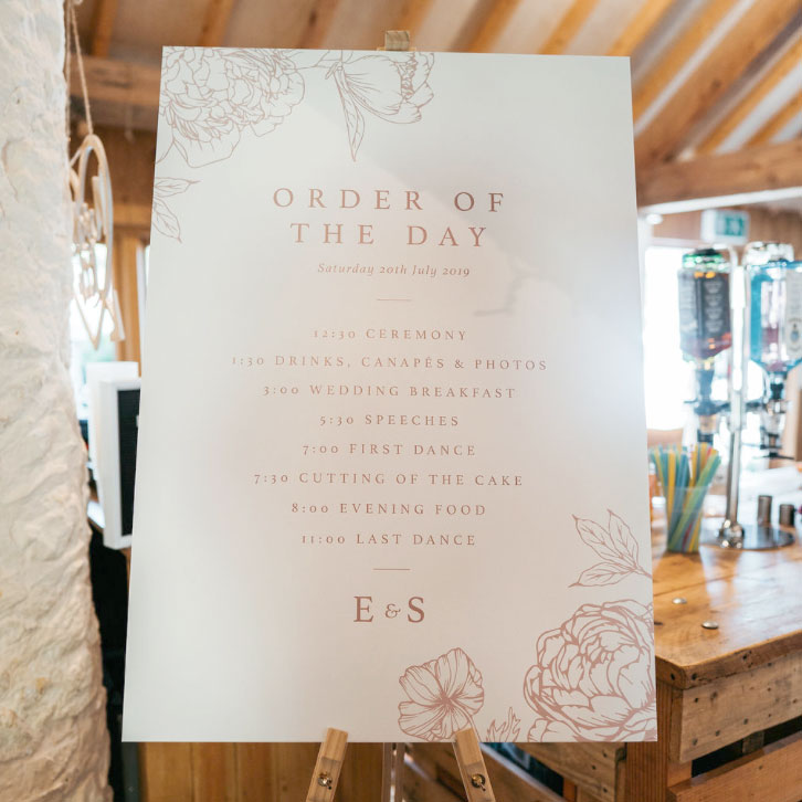 wedding day stationery and signage