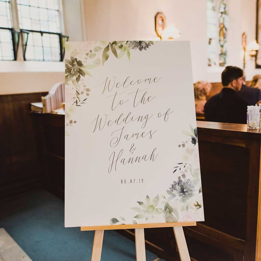 wedding day stationery and signage welcome sign