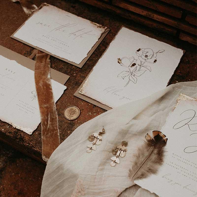 boho bespoke wedding stationery