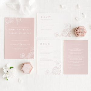 pink wedding stationery house collection