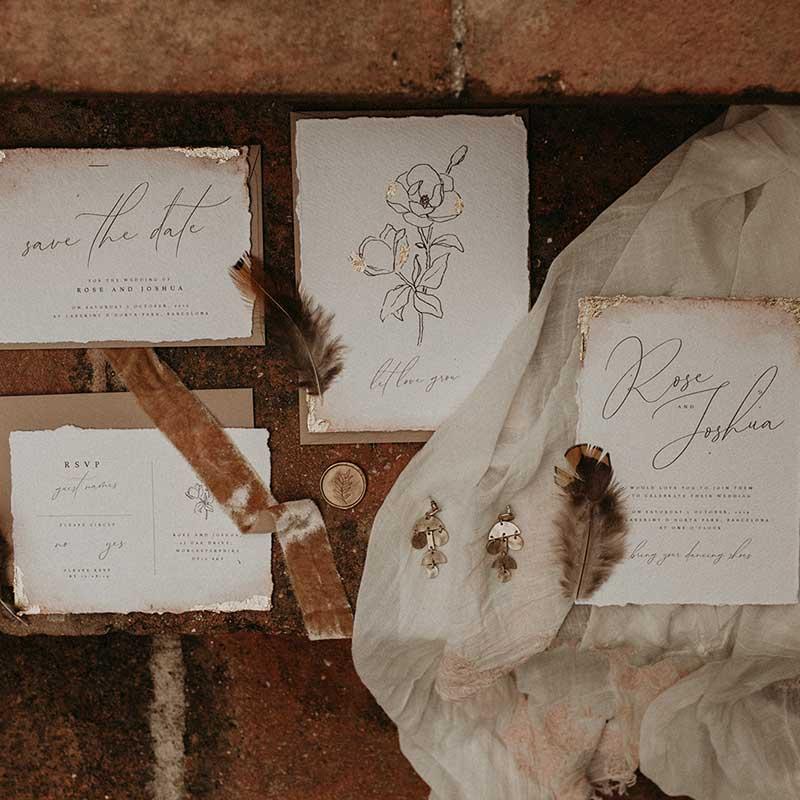 boho wedding invite bespoke wedding stationery