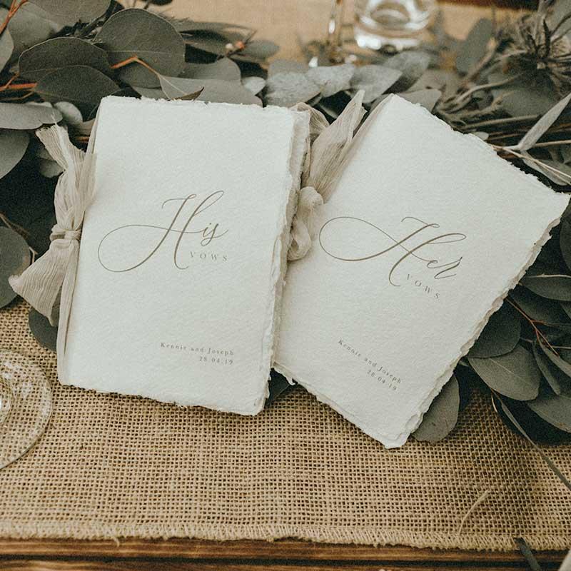 handmade vow books - bespoke wedding stationery